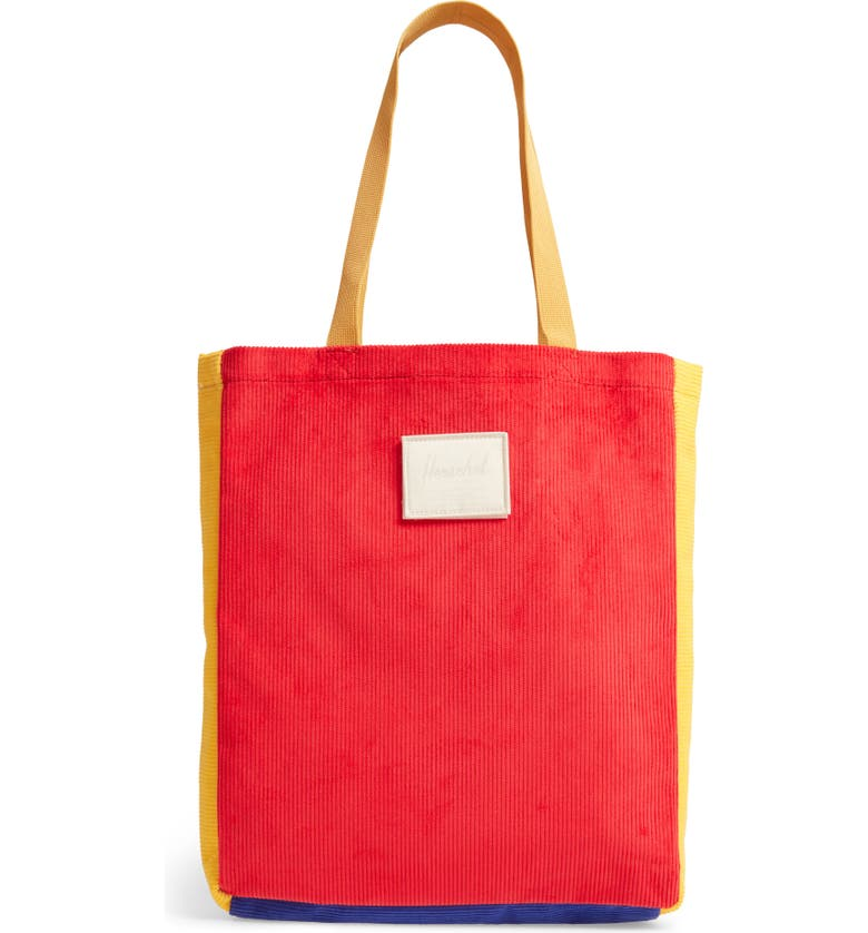 HERSCHEL SUPPLY CO. Colorblock Corduroy North/South Tote, Main, color, RED/ GREEN