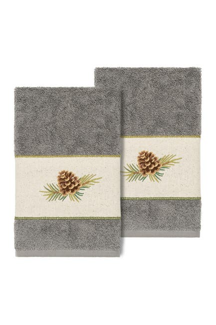 Image of LINUM HOME Pierre Embellished Hand Towel - Set of 2 - Dark Gray