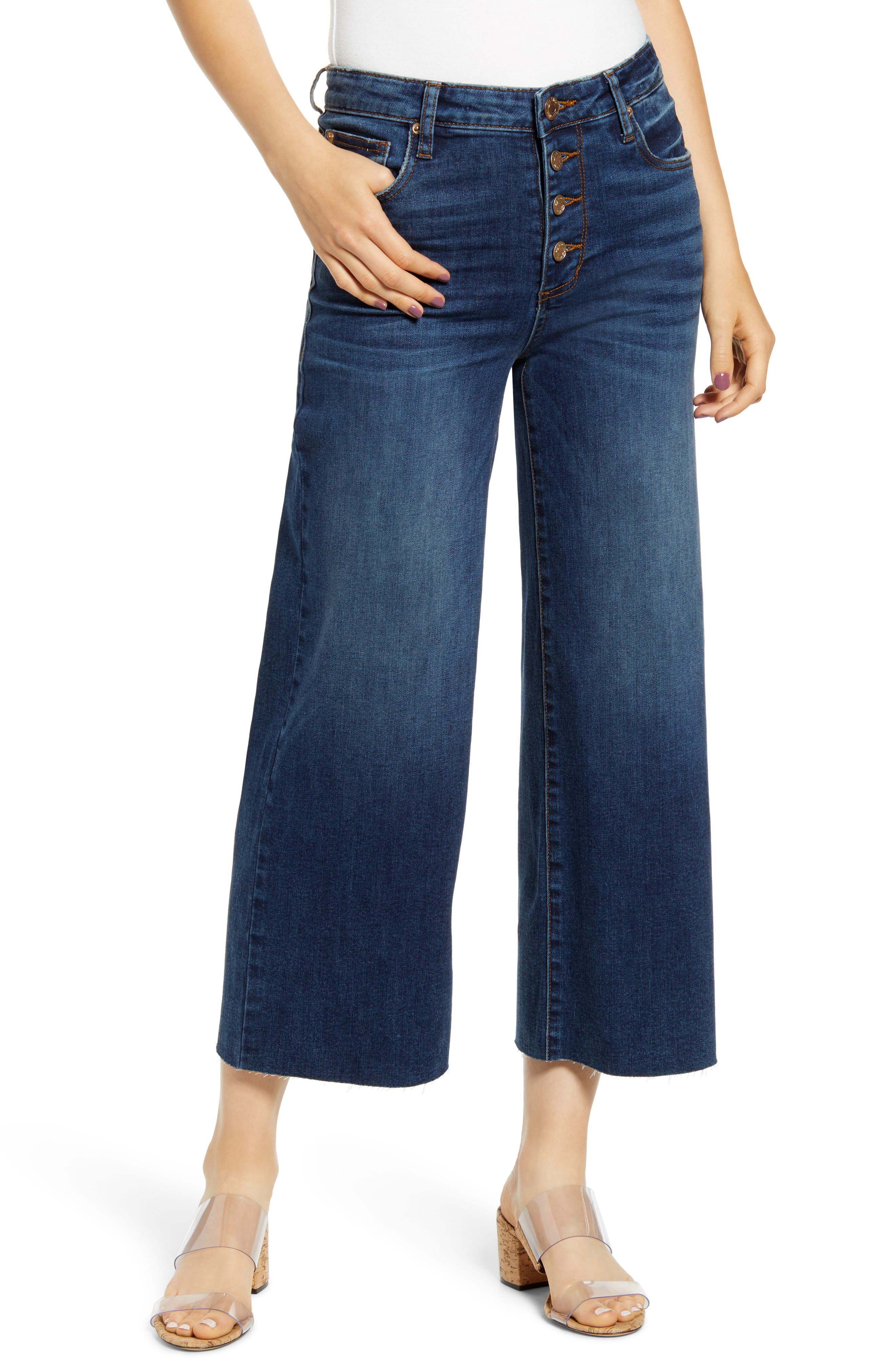 STS Blue Button Fly Wide Leg Crop Jeans (South Pacific)