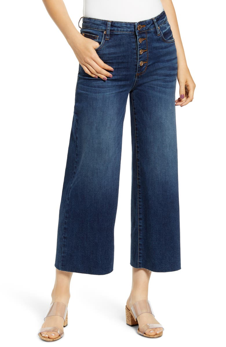STS BLUE Button Fly Wide Leg Crop Jeans, Main, color, SOUTH PACIFIC
