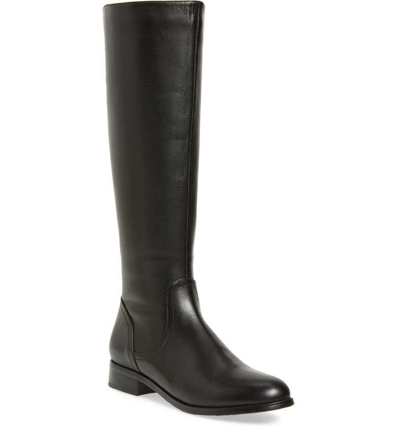 AQUADIVA Montreal Waterproof Knee High Boot, Main, color, BLACK LEATHER