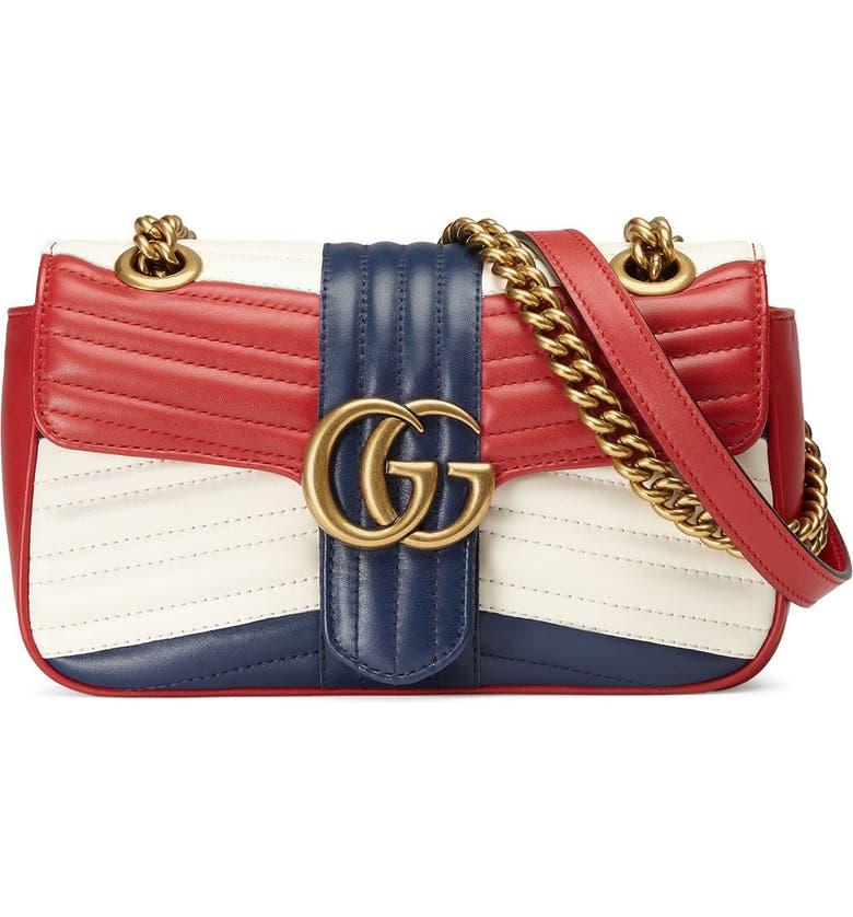 b607f9489 Mini GG Marmont 2.0 Tricolor Matelassé Leather Shoulder Bag, Main, color,  625