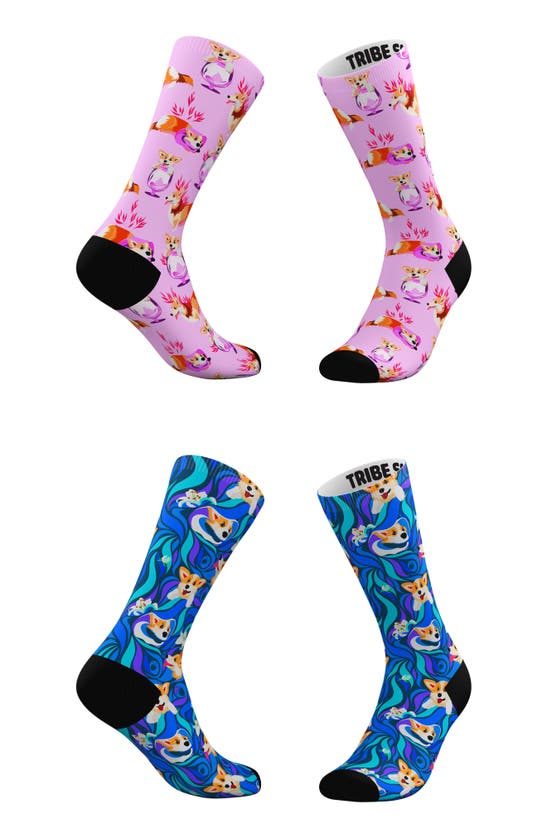 TRIBE SOCKS Socks ASSORTED 2-PACK PSYCHEDELIC & PINK CORGI CREW SOCKS