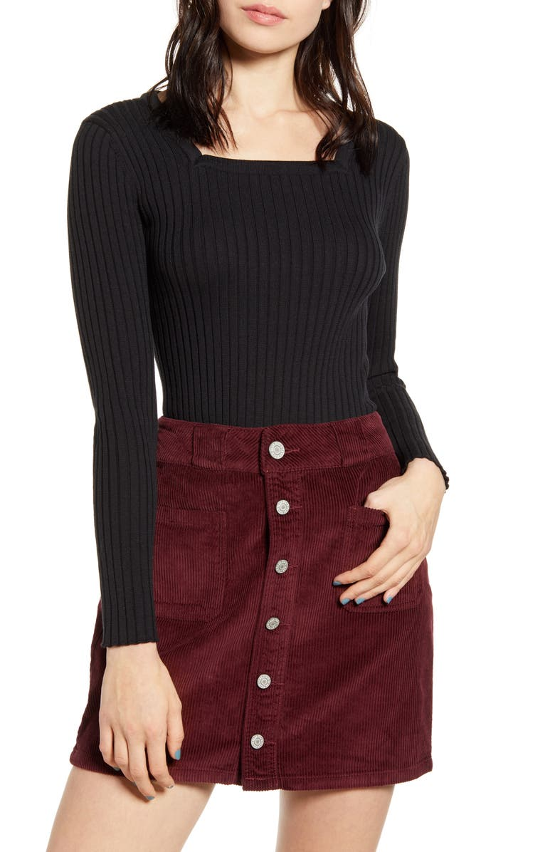 GOOD LUCK GEM Square Neck Ribbed Sweater, Main, color, 001