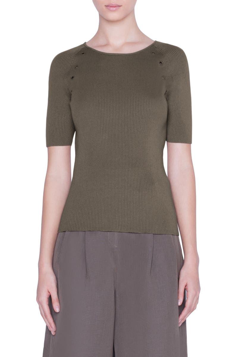 AKRIS PUNTO Metal Eyelet Detail Sweater, Main, color, KHAKI