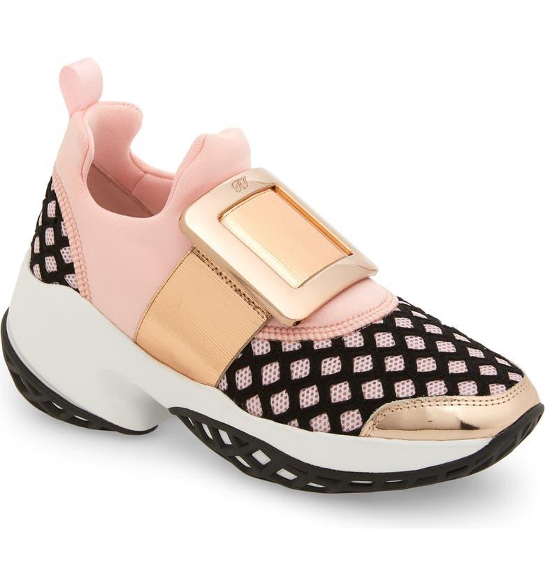 ROGER VIVIER Viv Buckle Slip-On Sneaker, Main, color, PINK/ ROSE GOLD