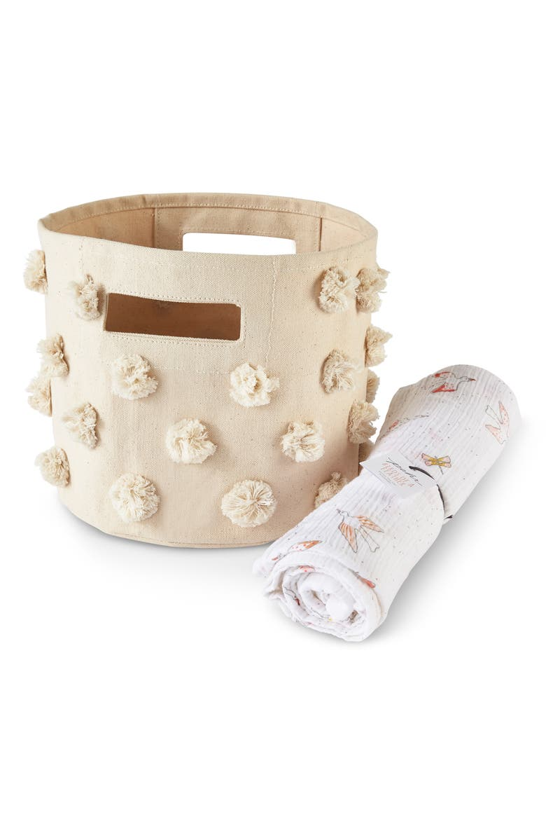 PEHR Birds of a Feather Pompom Canvas Bin & Swaddle Set, Main, color, 900