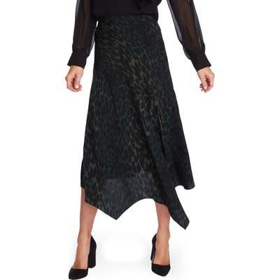 Vince Camuto Animal Print Asymmetrical Hem Skirt, Green