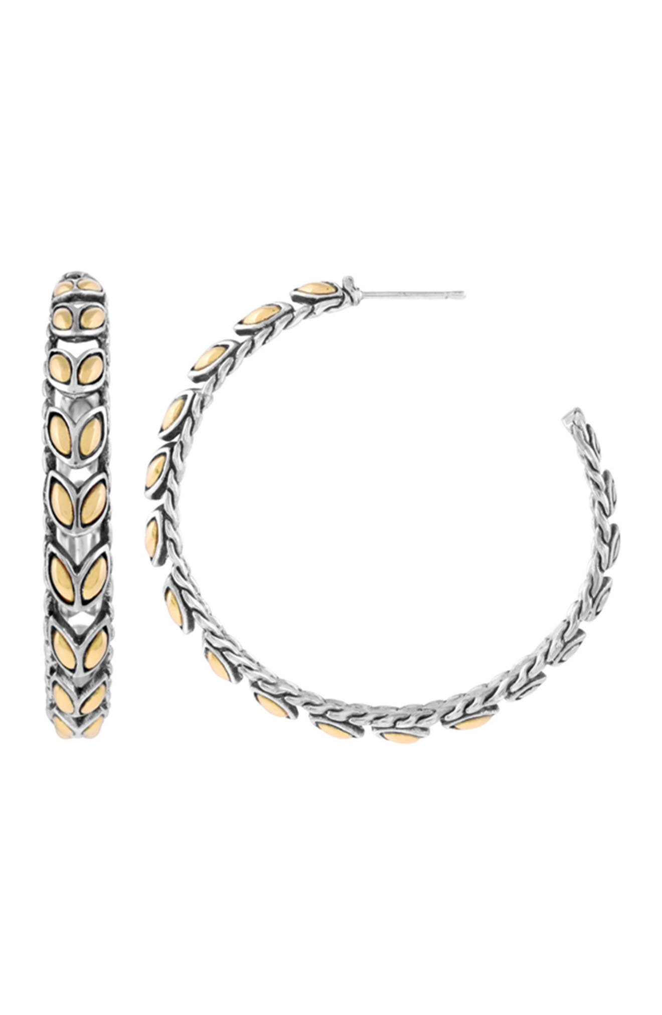 Image of JOHN HARDY 18K gold & Sterling Silver 44.5mm Large Hoop Earrings