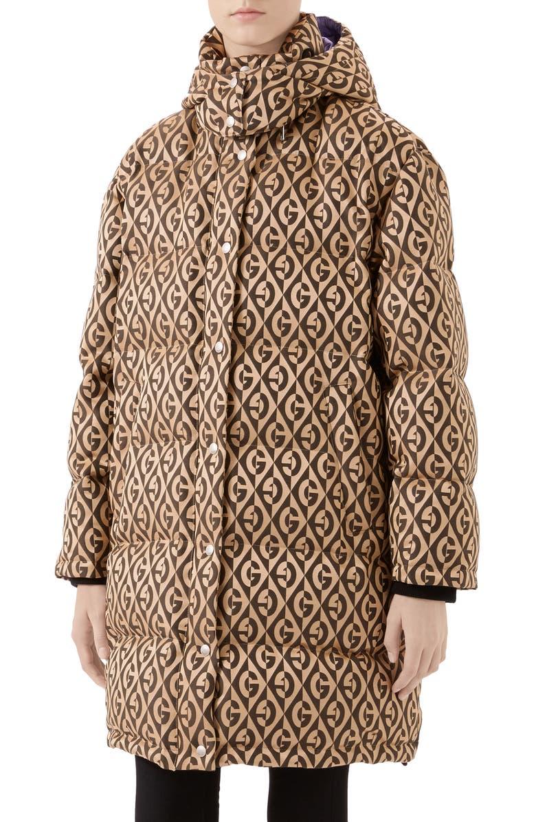 GUCCI GG Rhombus Print Down Puffer Coat, Main, color, BEIGE/ BLACK/ MIX