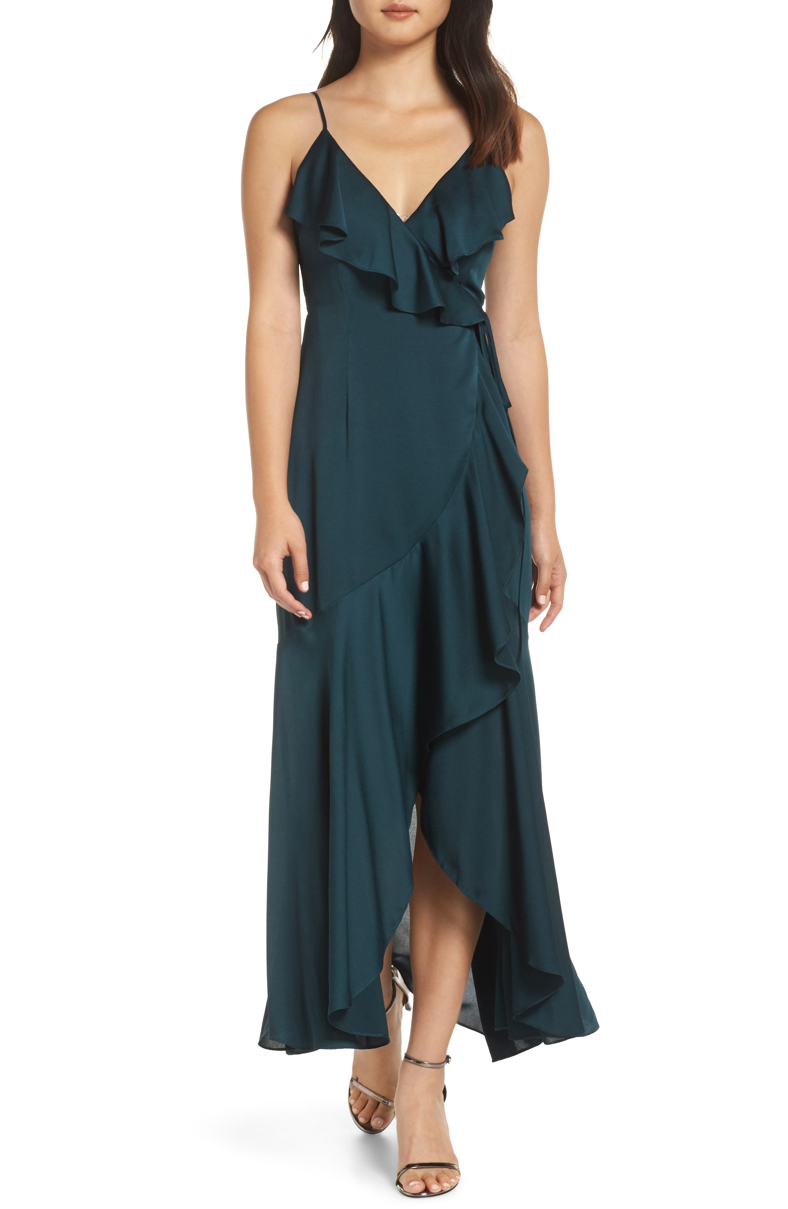Luxe Ruffle Trim Wrap Gown, Main, color, EMERALD