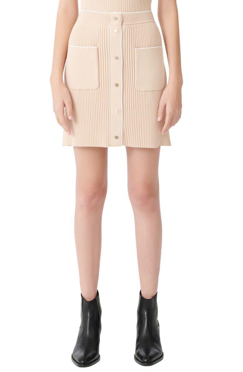 MAJE Fitted Knit Skirt, Main, color, BEIGE