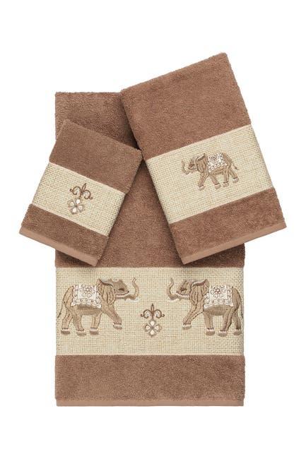 Image of LINUM HOME Quinn 3-Piece Embellished Towel Set - Latte