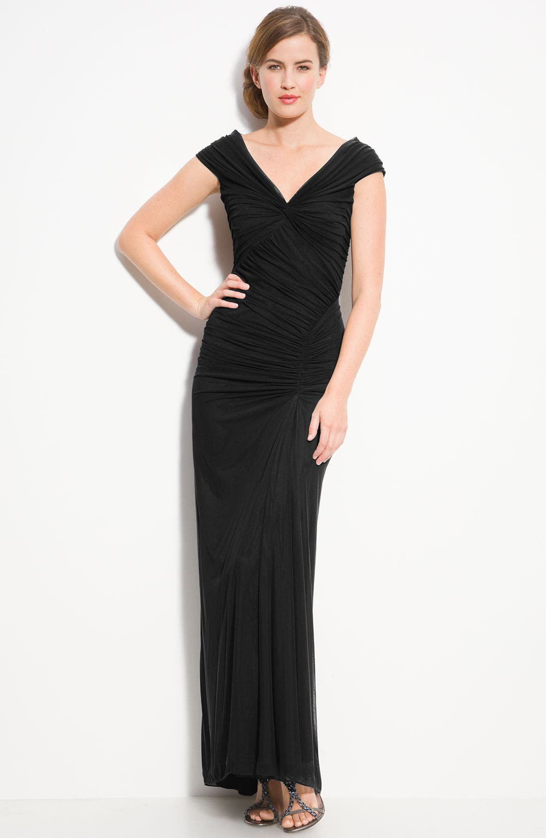 Ruched Mesh Gown, Main, color, 001