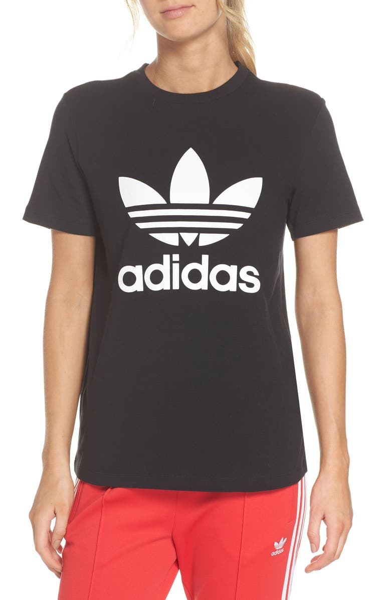 ADIDAS ORIGINALS adidas Trefoil Tee, Main, color, BLACK/ WHITE