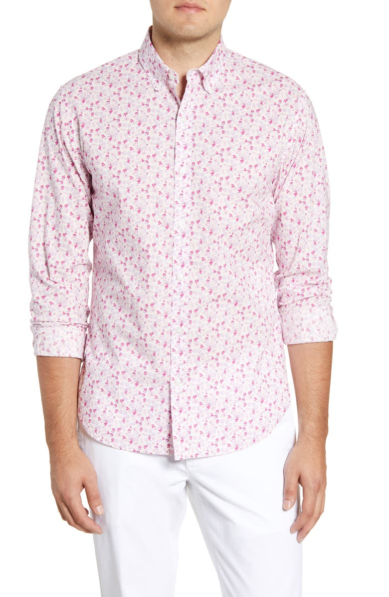 BONOBOS Summerweight Slim Fit Floral Print Button-Down Shirt, Main, color, 650