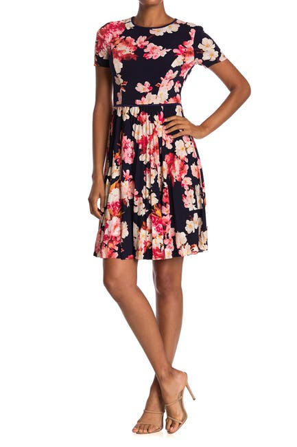 Image of Maggy London Azalea Floral Short Sleeve Pleated Dress