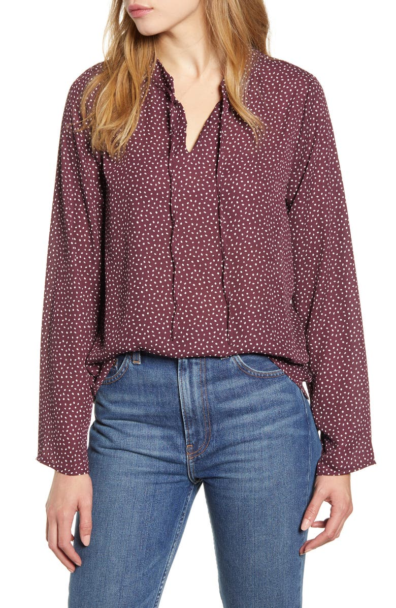 BOBEAU Samara Tie Neck Long Sleeve Blouse, Main, color, PLUM SPECKLE