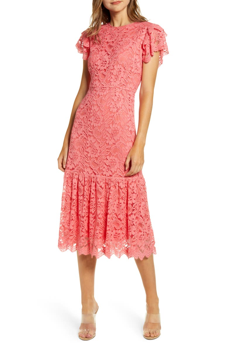 RACHEL PARCELL Lace Midi Dress, Main, color, PINK STRAWBERRY