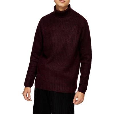 Topman Harlow Ribbed Turtleneck Sweater, Burgundy