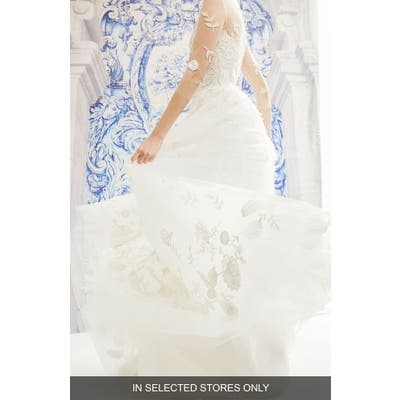 Carolina Herrera India Floral Embroidered Tulle Wedding Dress