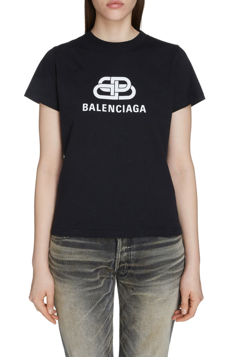 BALENCIAGA Interlock BB Logo Tee, Main, color, BLACK