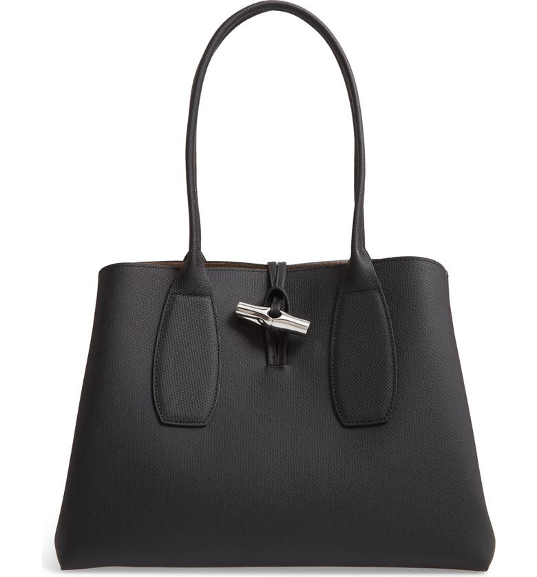 LONGCHAMP Roseau Leather Shoulder Tote, Main, color, BLACK