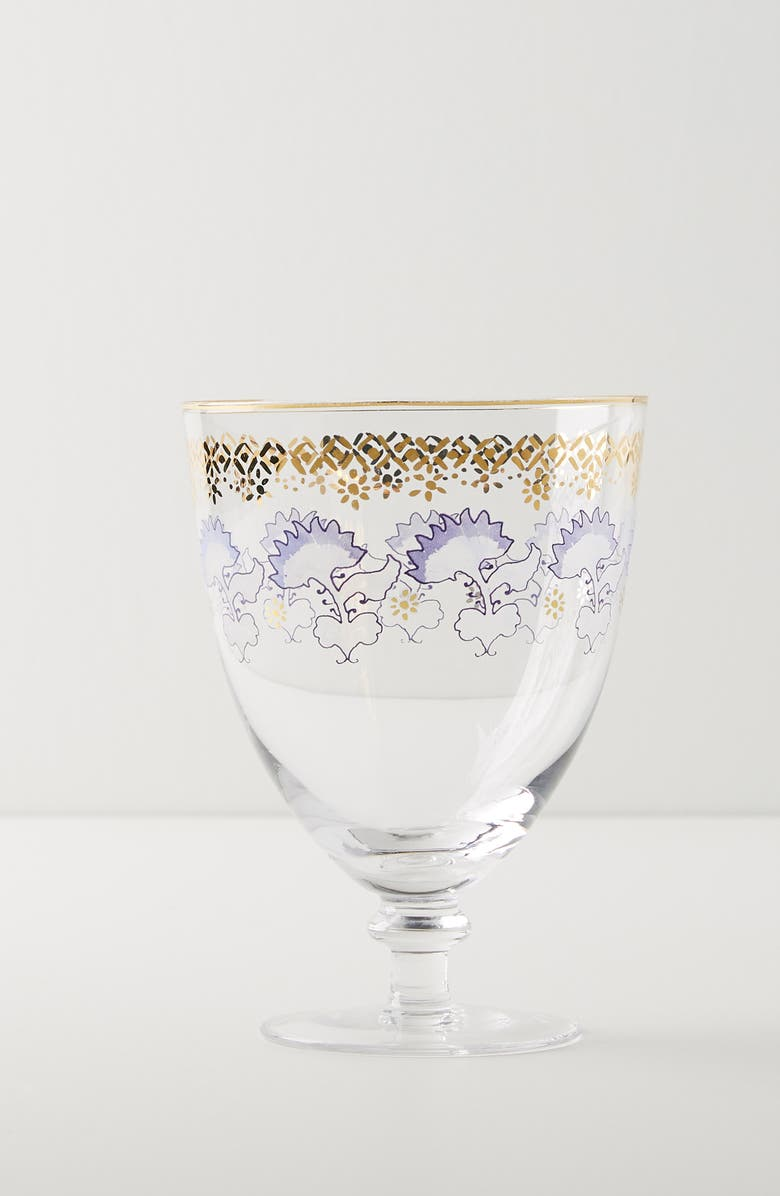 ANTHROPOLOGIE Rivka Set of 4 Wine Glasses, Main, color, GOLD/ PERIWINKLE