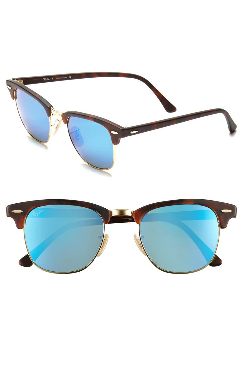 RAY-BAN Flash Clubmaster 51mm Sunglasses, Main, color, TORTOISE/ BLUE MIRROR