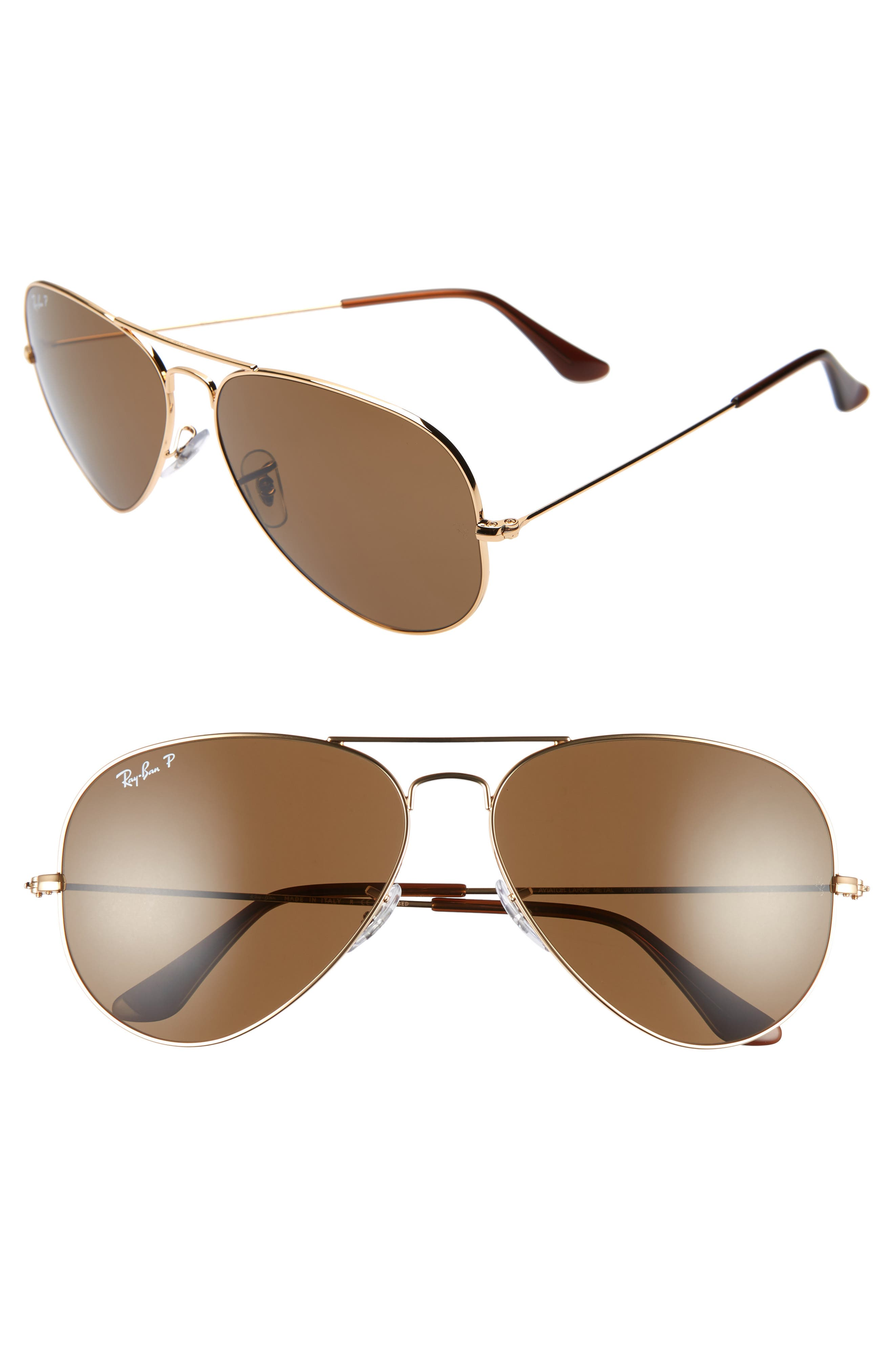 Ray-Ban Original 62Mm Oversize Polarized Aviator Sunglasses - Gold/ Brown Solid