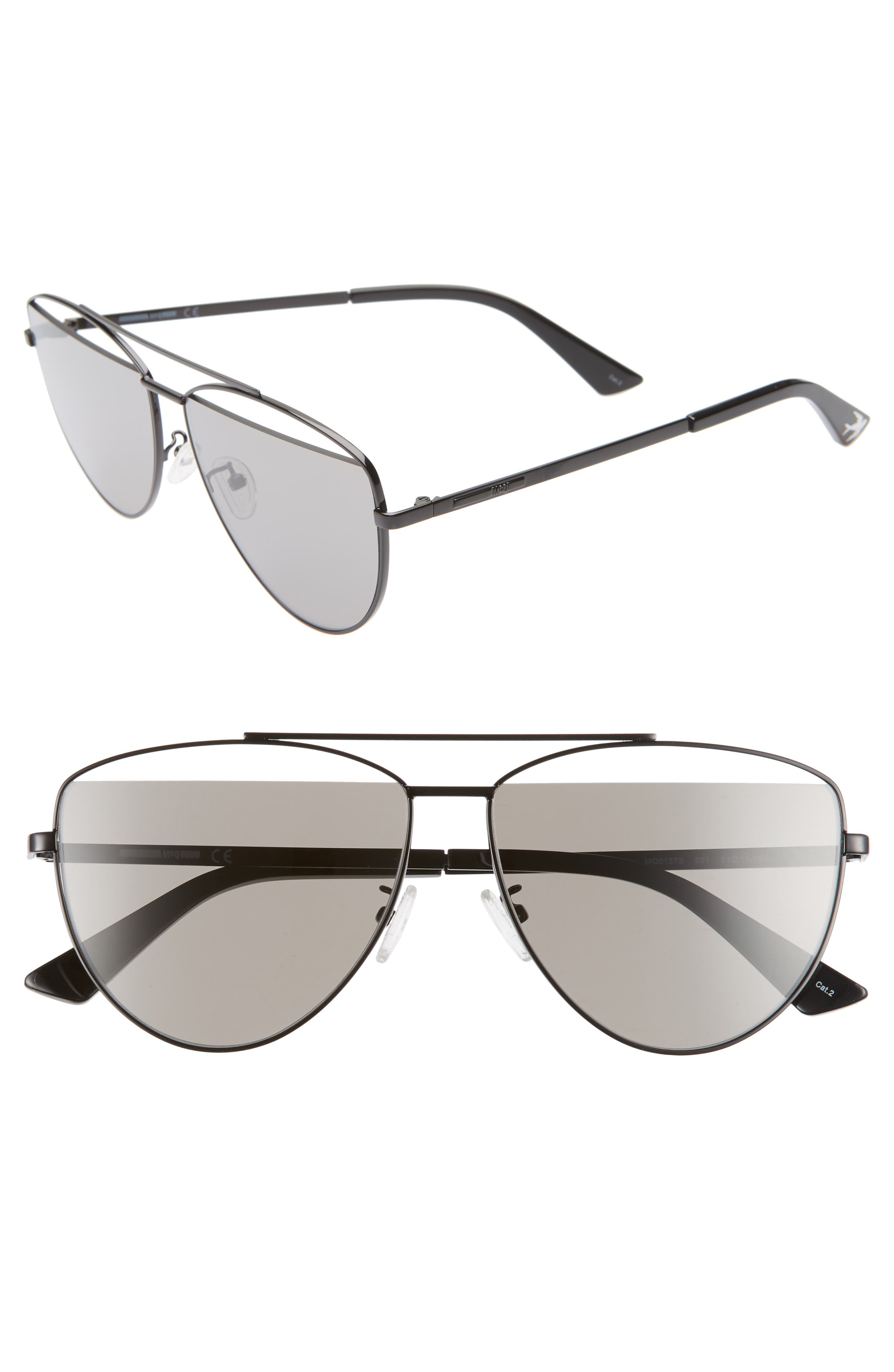 ,                             61mm Aviator Sunglasses,                             Main thumbnail 1, color,                             BLACK/ GREY