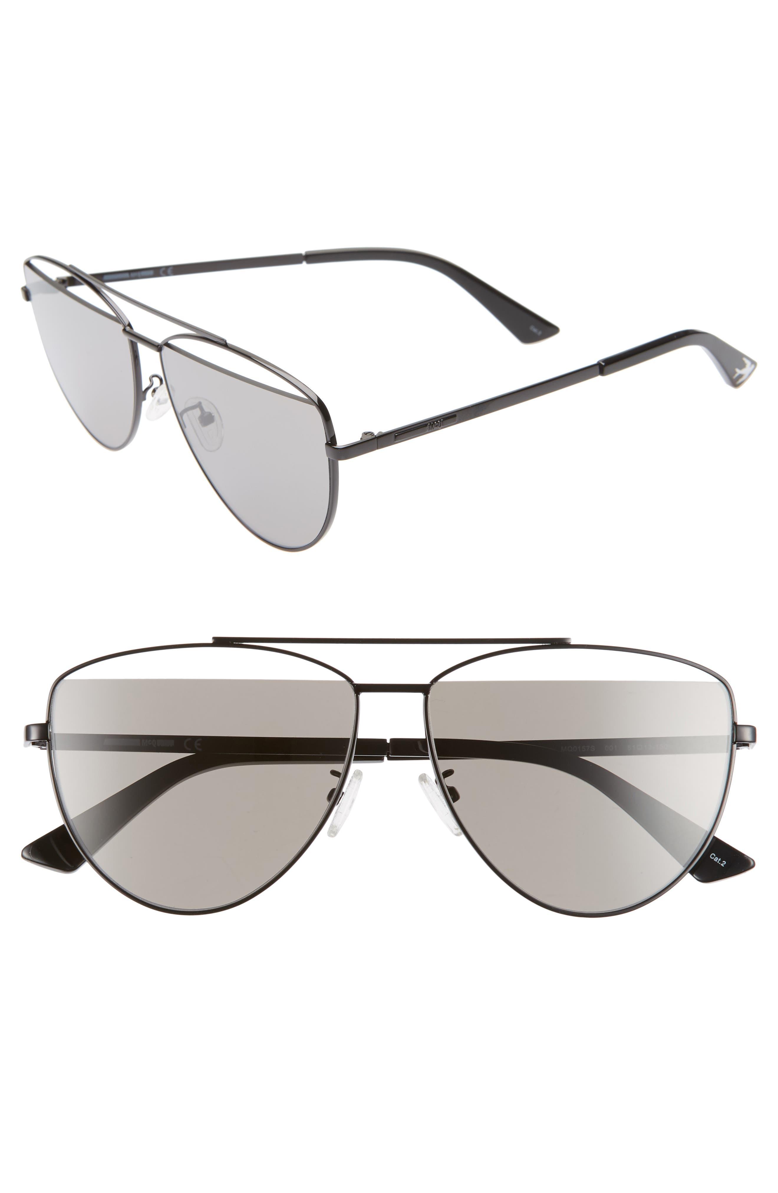 61mm Aviator Sunglasses, Main, color, BLACK/ GREY
