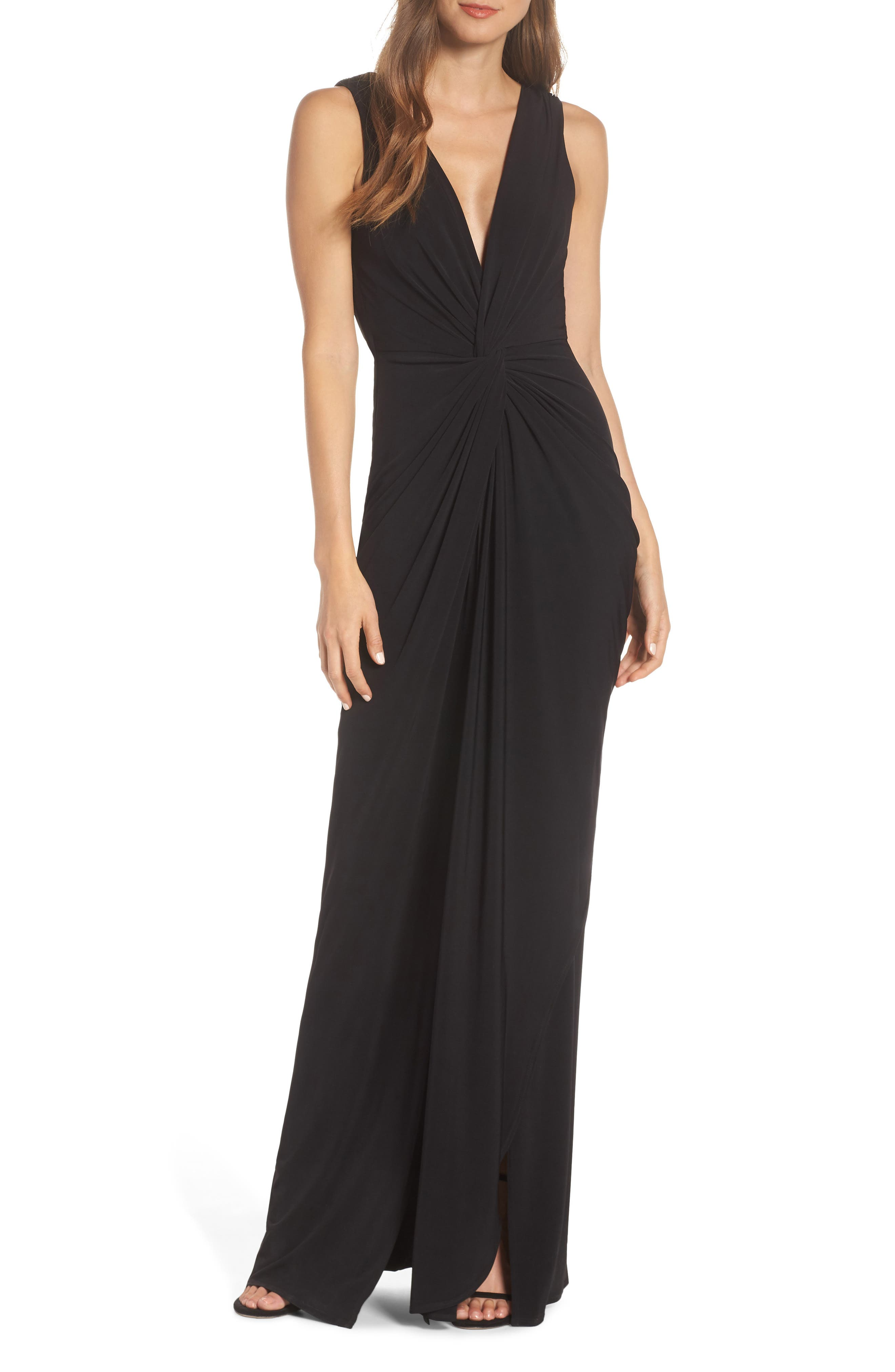 Katie May Leo Twist Front Evening Dress, Black