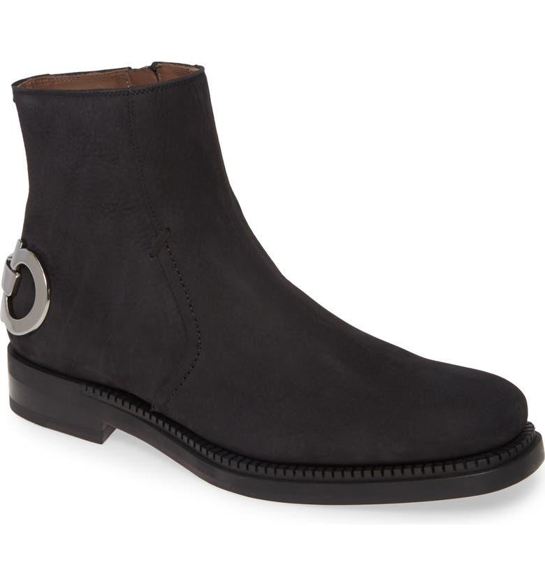 SALVATORE FERRAGAMO Bankley Zip Boot, Main, color, NERO/NERO