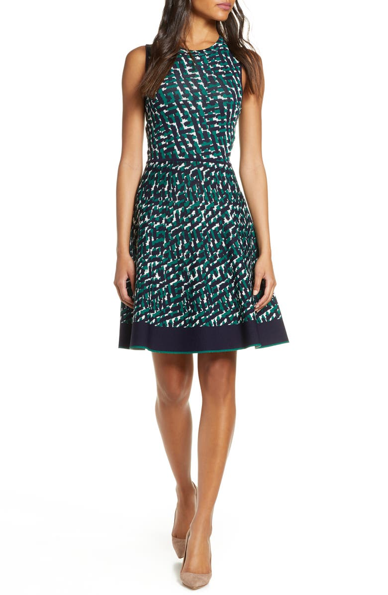 ELIZA J Print Sleeveless Fit & Flare Sweater Dress, Main, color, GREEN