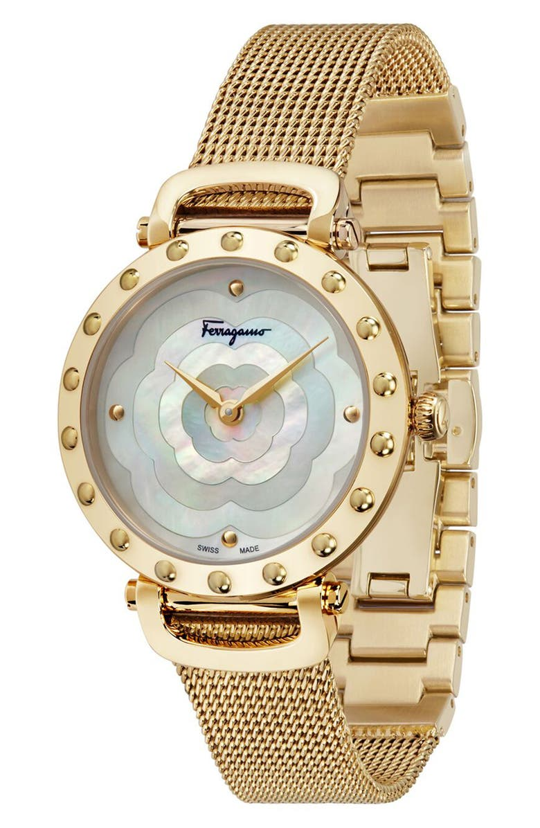 SALVATORE FERRAGAMO Style Bracelet Watch, 34mm, Main, color, GOLD/ WHITE MOP/ GOLD