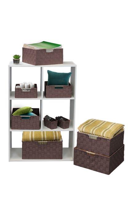 Image of Sorbus Chocolate Woven 9-Piece Basket Set