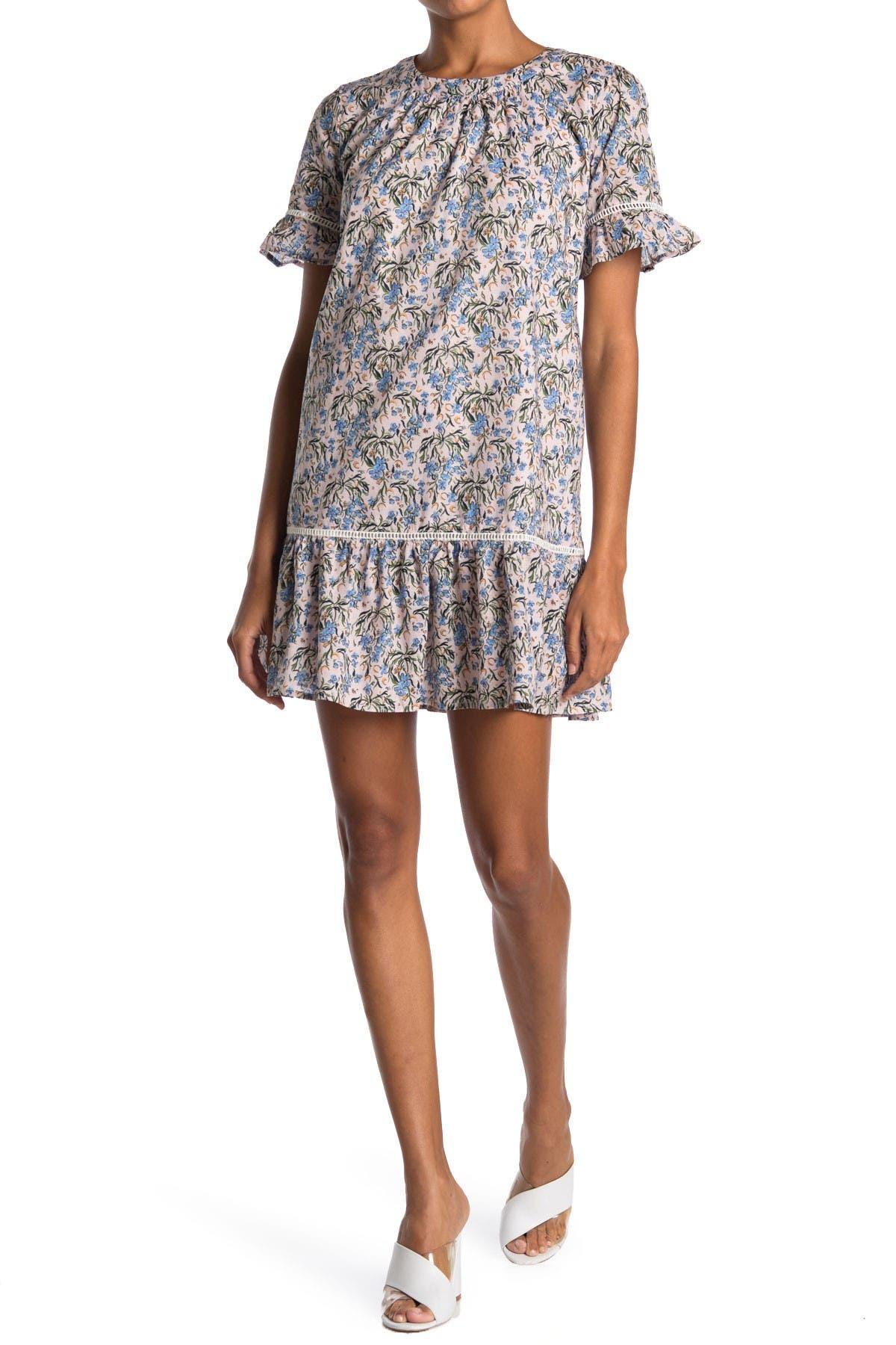 Image of MELLODAY Floral Ruffle Trim Shift Dress