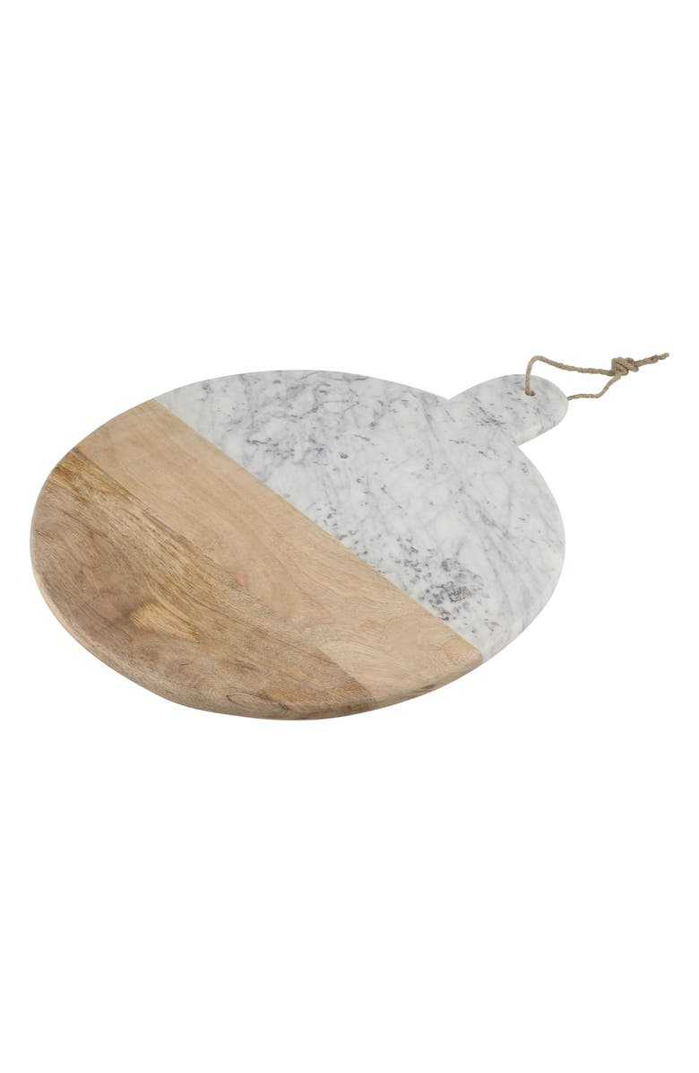 THIRSTYSTONE Round Extra Large Marble & Acacia Wood Serving Board, Main, color, 500