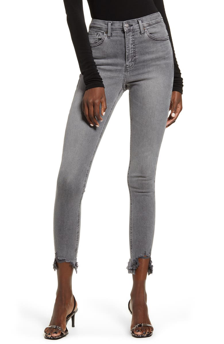 TOPSHOP Jamie Jagged Hem Jeans, Main, color, GREY