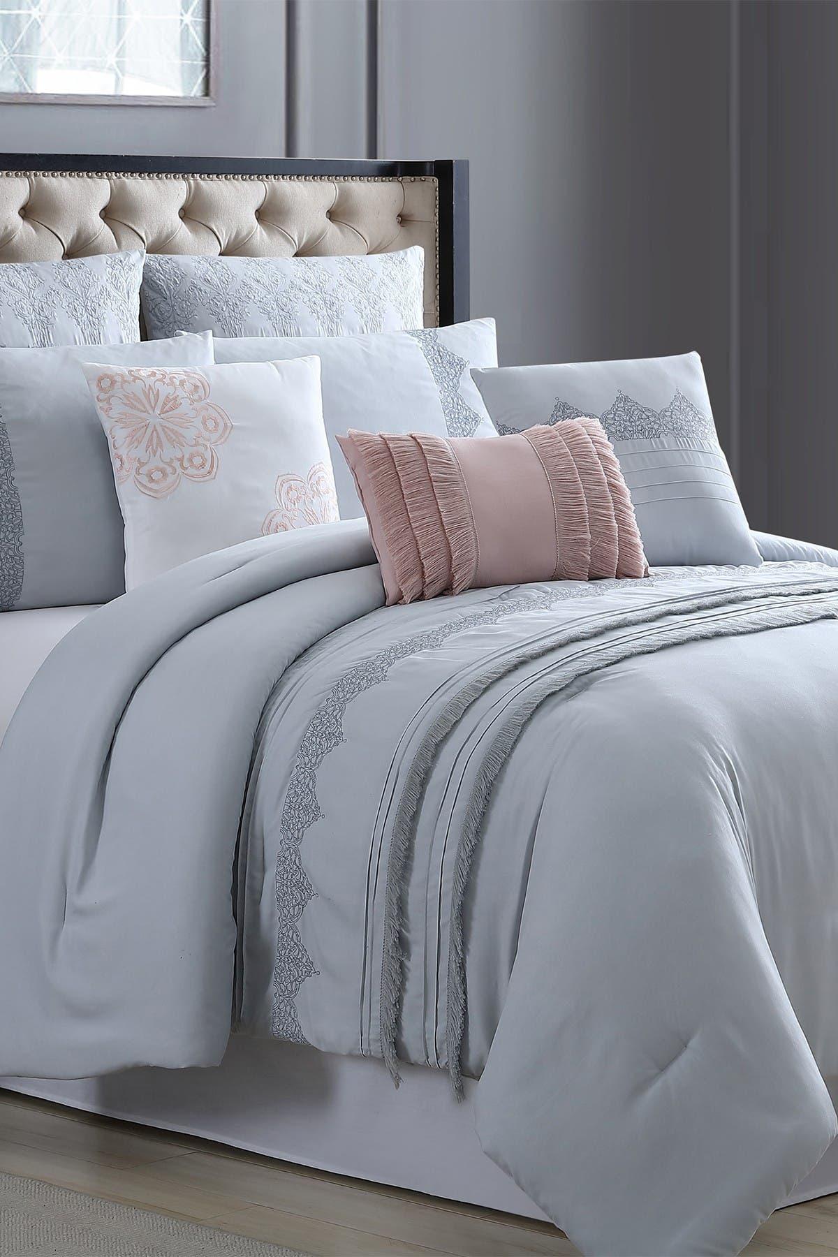 Image of Modern Threads King/California King Rivera Embroidered Comforter Set - Grey