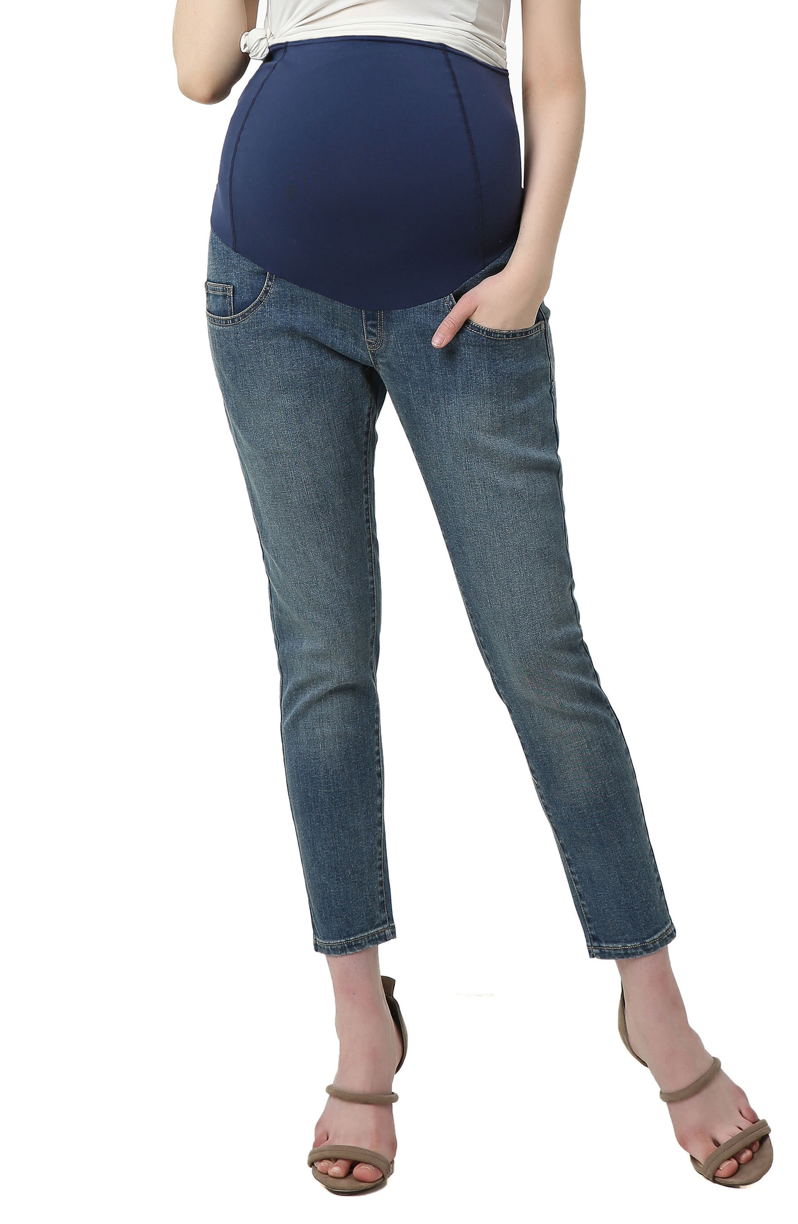 An elastic waistband with contoured panels reaches high on your midriff to securely cradle your baby bump, in skinnies with plenty of stretch throughout. Style Name: Kimi And Kai Tara Crop Maternity Skinny Jeans. Style Number: 5602982. Available in stores.
