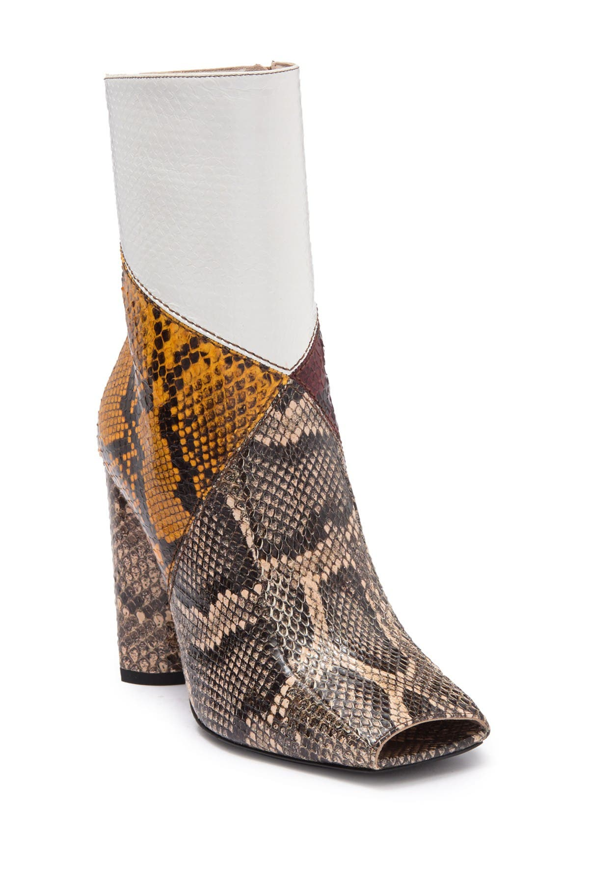 Image of Roberto Cavalli Square Toe Color Block Snake Embossed Ankle Boot