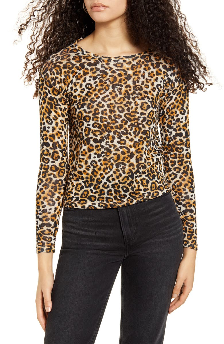 HIATUS Animal Print Hacci Knit Top, Main, color, 921