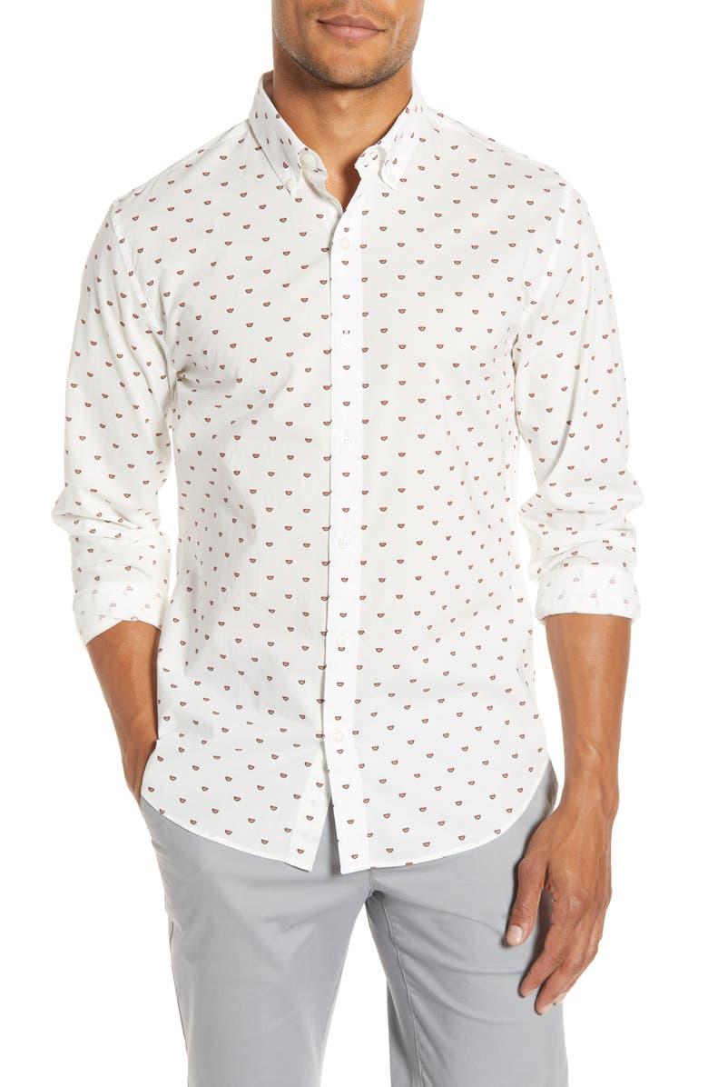 BONOBOS Slim Fit Watermelon Print Button-Down Shirt, Main, color, WATERMELON CRITTER - GUAVA