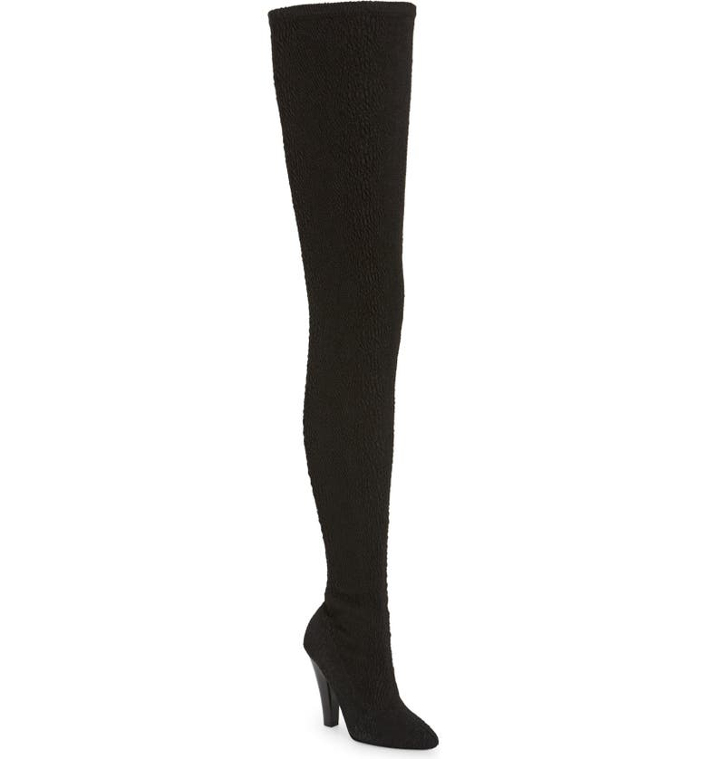 SAINT LAURENT Over the Knee Stretch Boot, Main, color, NERO