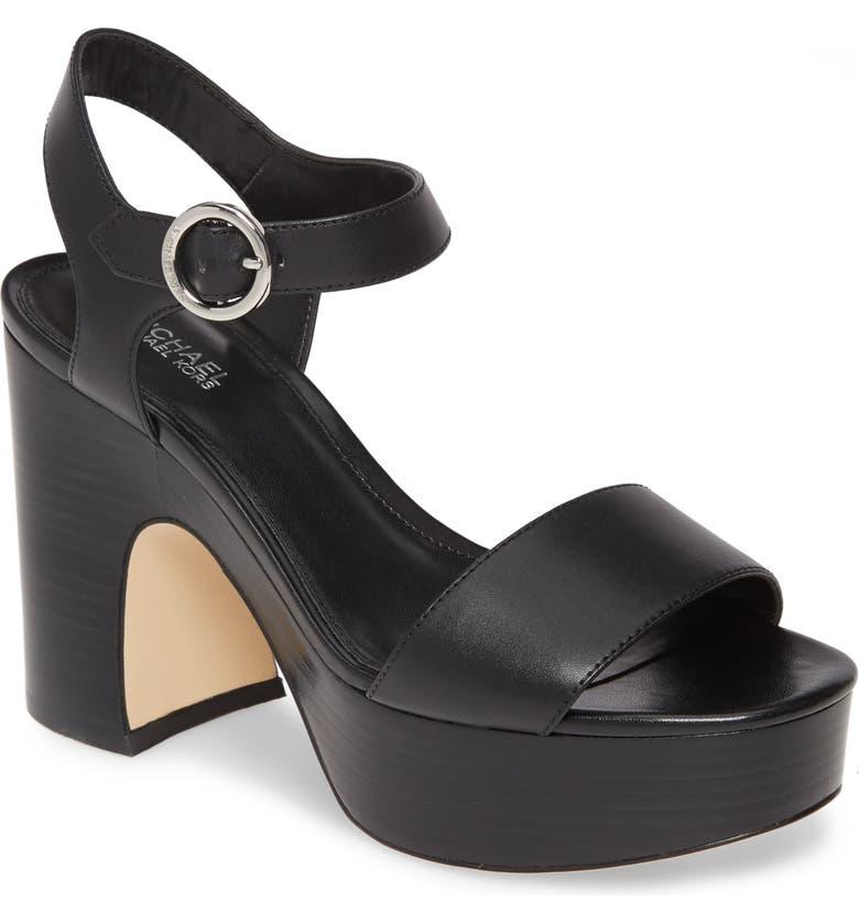 MICHAEL MICHAEL KORS Fiona Platform Sandal, Main, color, BLACK VACHETTA LEATHER