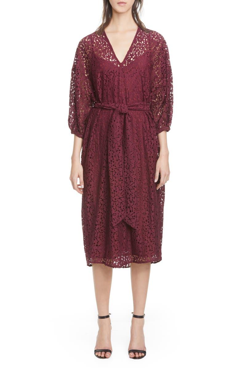 ROSEANNA Lace V-Neck Midi Dress, Main, color, RAISIN