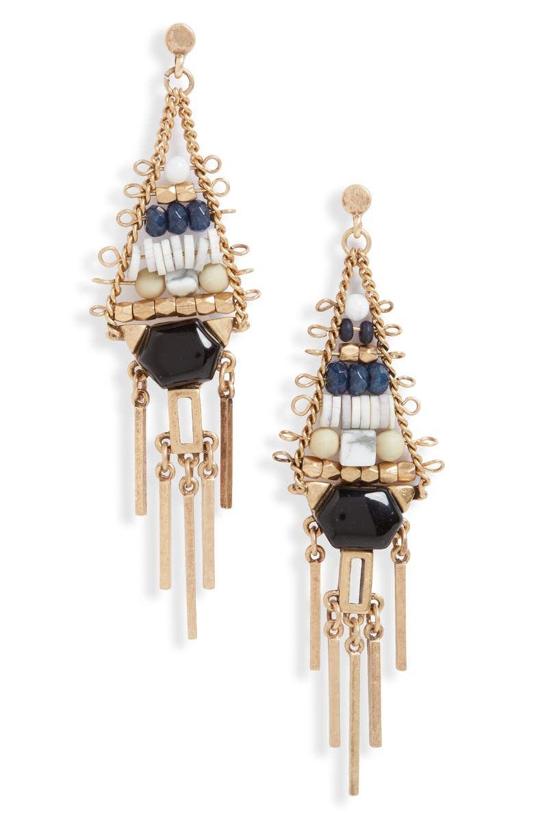 TREASURE & BOND Beaded Fringe Chandelier Earrings, Main, color, 260