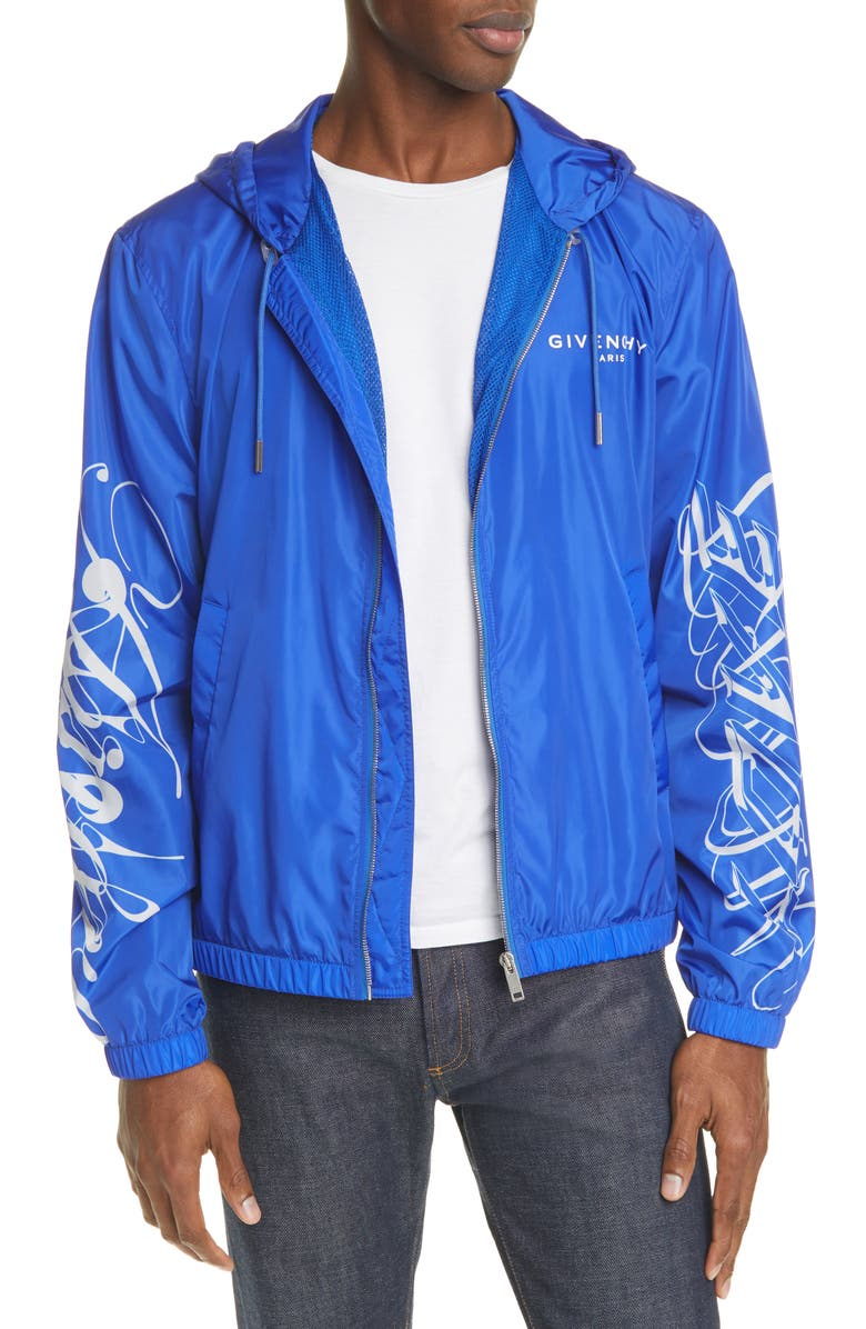 GIVENCHY Print Sleeve Hooded Windbreaker, Main, color, BLUE/WHITE